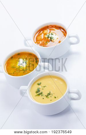 soup in the white cups