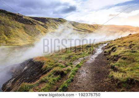 Hiking trail along Hot River in Reykjadalur Valley in South Iceland