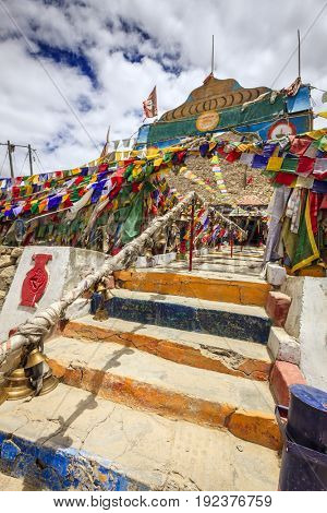Entrance to Hindu temple at Changla Pass in Ladakh region of Kashmir, India