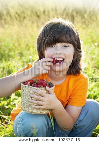 cheerful boy with basket of strawberry on field