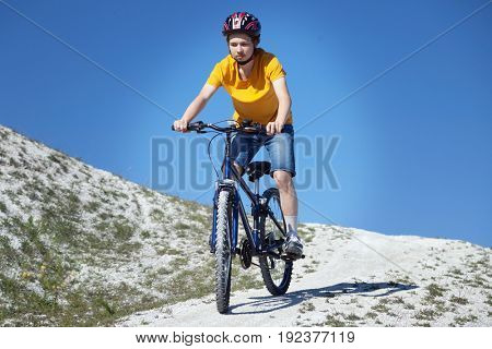Mountain bike.Sport and healthy life.Extreme sports.Mountain bicycle and man.Life style outdoor extreme sport