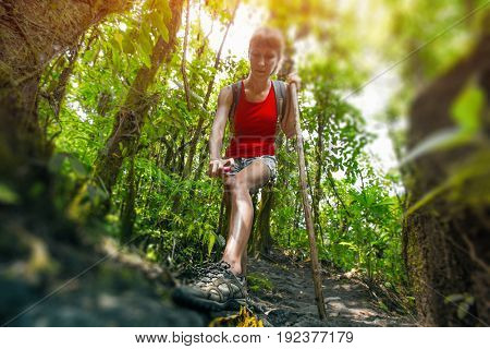 Young woman hiker applying mosquito repellent in dense tropical forest. Tilt shift effect used