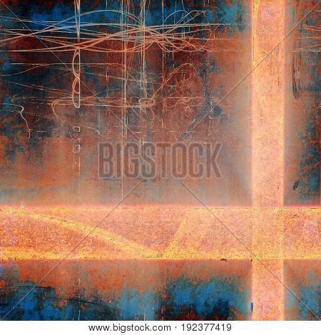 Grunge abstract textured background, aged backdrop with different color patterns: yellow (beige); brown; blue; red (orange); cyan