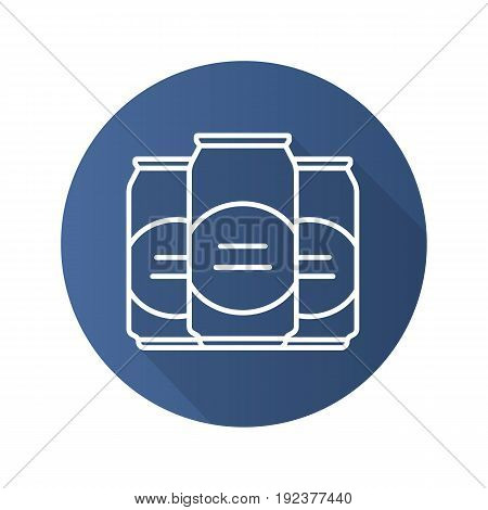 Beer cans flat linear long shadow icon. Vector outline symbol