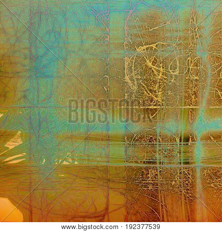 Abstract dirty texture or grungy background. With old style decorative elements and different color patterns: yellow (beige); brown; green; blue; red (orange); cyan