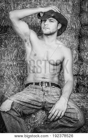 Shirtless cowboy man sitting on hay