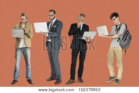 Group of people with laptop communication technology