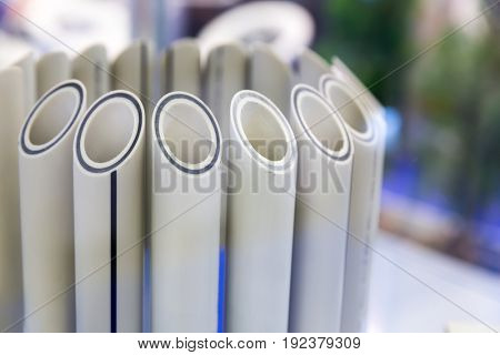 Plastic water pipes in a cut, polypropylene tube