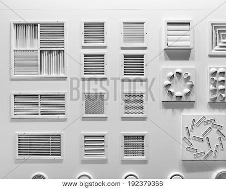 Showcase with plastic grills for air vents closeup
