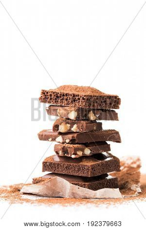 Photo pieces of milk chocolate