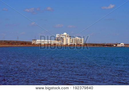 Resort Balkhash,Balkhash lake, central Kazakhstan.Near Priozersk - former Soviet  anti-ballistic missile testing range Sary Shagan.May 11, 2017.Priozersk.Kazakhstan