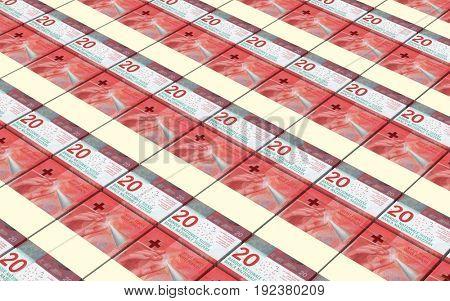 Swiss franc bills stacks background. 3D illustration.