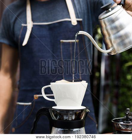 Barista Man Making Drip Coffee Show