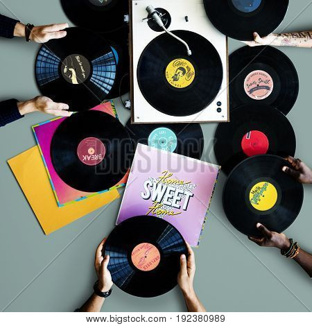 Vinyl music retro style