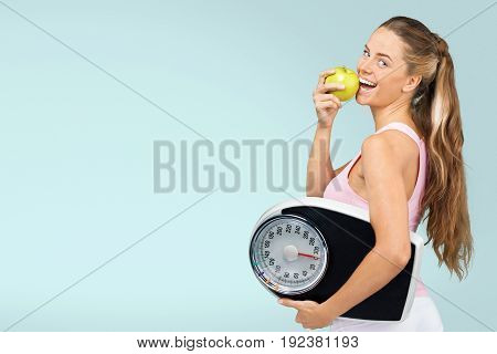 Apple woman scale activity background view isolated