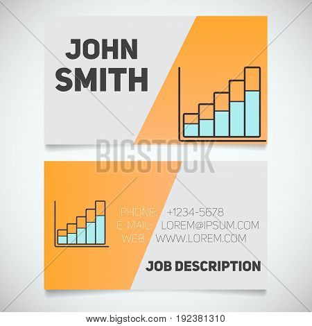 Business card print template with income growth chart logo. Marketer. Stockbroker. Analyst. Stationery design concept. Vector illustration