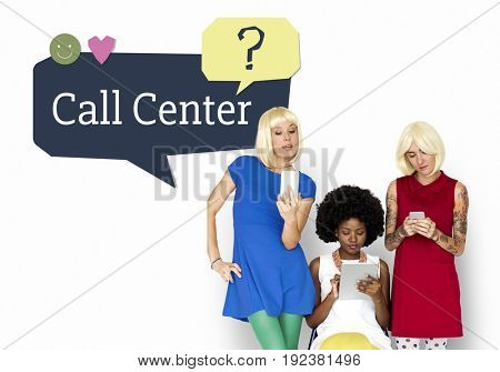 trendy women friends using digital devices with customer service word