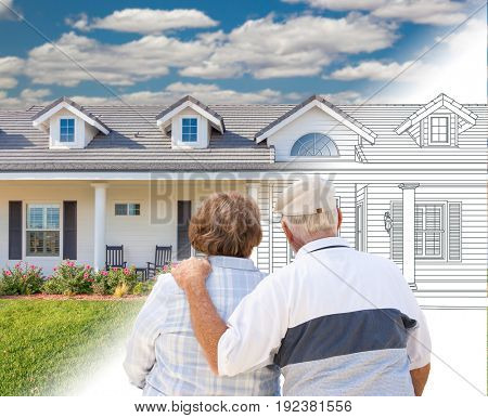 Senior Couple Looking At New House Drawing Gradating Into Photograph.