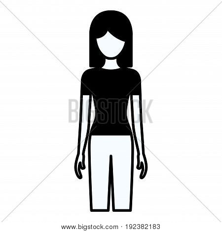 black silhouette thick contour of faceless full body woman with pants and short hair vector illustration