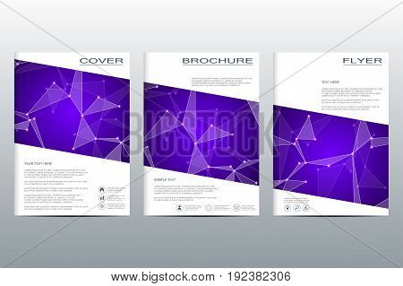 Brochure template layout, flyer, cover, annual report, magazine in A4 size. Structure of molecular particles and atom. Polygonal abstract background
