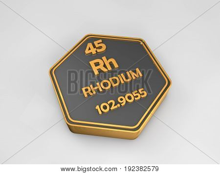 Rhodium - Rh - chemical element periodic table hexagonal shape 3d render
