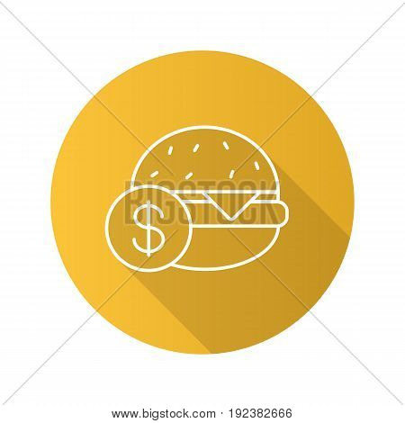 Buy hamburger flat linear long shadow icon. Burger price. Vector outline symbol