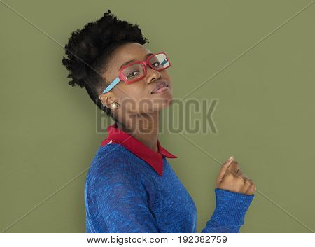 African Woman with Eyeglasses Staring