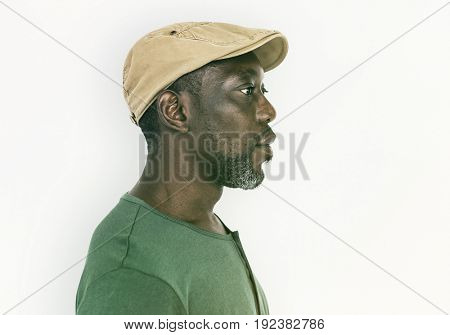 Retro Old-Fashion African Male Serious Face Expression Studio Portrait