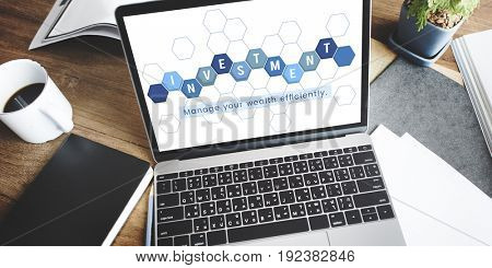 Business economics financial transaction investment graphic on laptop
