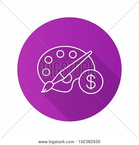 Buy art equipment flat linear long shadow icon. Palette with brush and dollar sign. Vector outline symbol