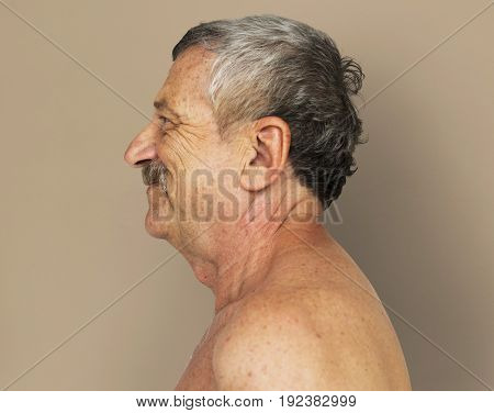 Senior Adult Man Bared Chest Studio Portrait
