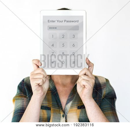 Hands holding network graphic overlay digital device covering face