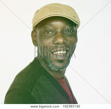 African Male Cheerful Face Expression Studio Portrait