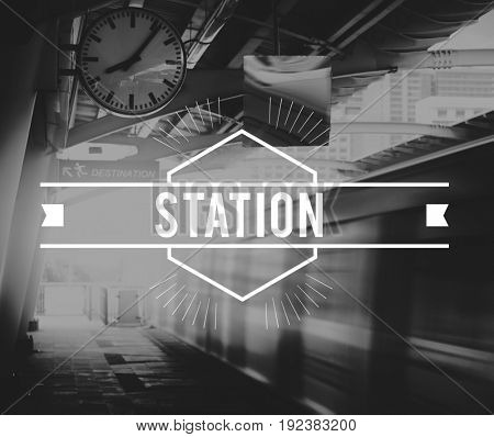 Train Station Platform Rush Hour Black and White Style
