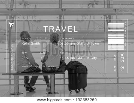 Flight detail banner on senior couple traveler background