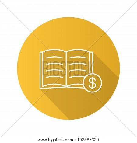 Buy book flat linear long shadow icon. Bookstore. Textbook with dollar sign. Vector outline symbol