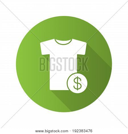 Buy clothes flat design long shadow icon. T-shirt with dollar sign. Vector silhouette symbol