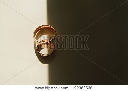 Two wedding rings symbol. Elegancy day with love.