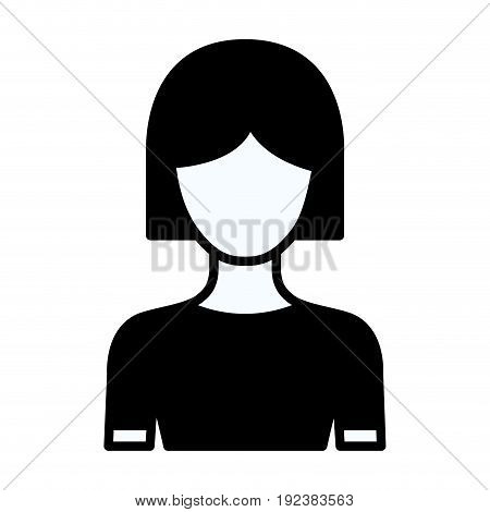 black silhouette thick contour of faceless half body woman with short hair vector illustration