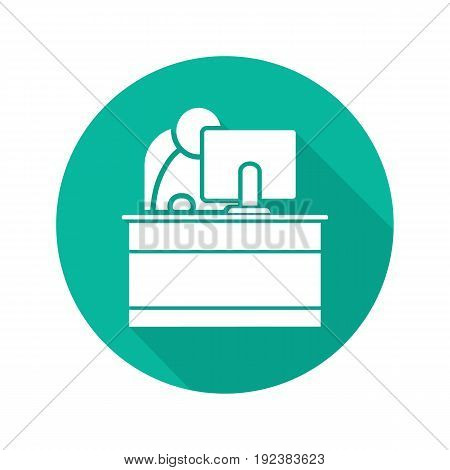 Secretary flat design long shadow glyph icon. Reception. Office worker. Vector silhouette illustration
