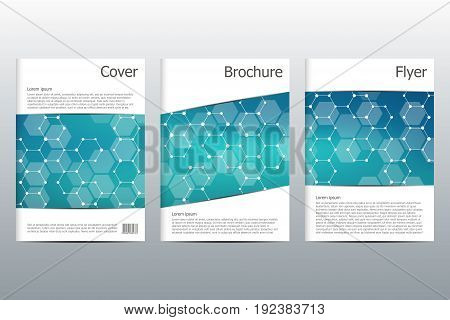 Brochure template layout, flyer, cover, annual report, magazine in A4 size. Structure of molecular particles and atom. Polygonal abstract background. Vector illustration