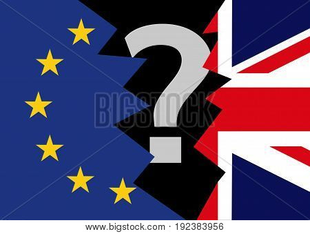 Brexit blue torn european union EU flag and torn great britain flag England exit concept with question mark