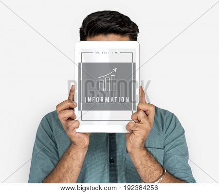 Man holding digital device covering face network graphic overlay