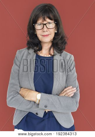 Caucasian Lady folding Arms Business
