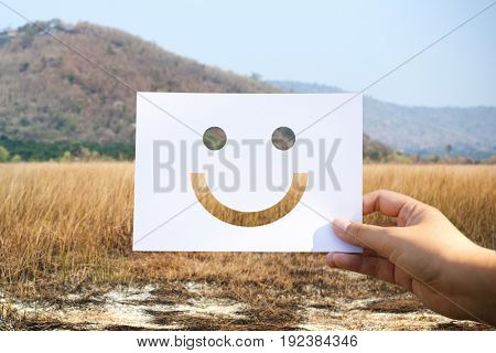 Happiness cheerful perforated paper smiley face