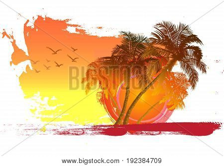 Palm trees at sunset background. Palm trees and birds key. Miami. Maldives. Canary Islands.