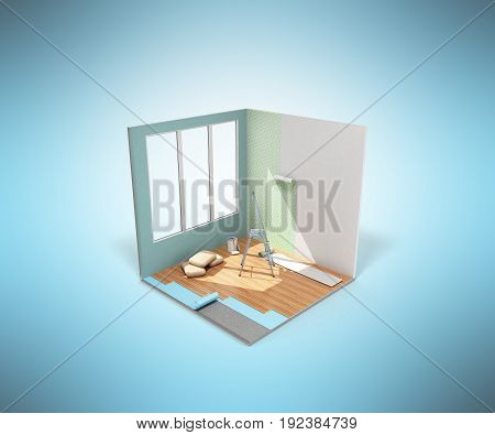 Concept Of Repair Work Isometric Low Poly Home Room Renovation Icon 3D Render On Blue