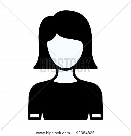 black silhouette thick contour of faceless half body young woman with straight short hairstyle vector illustration