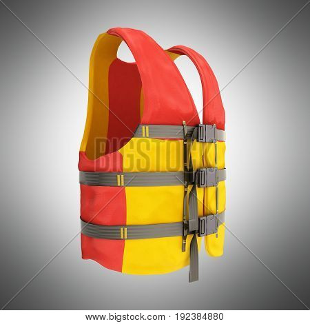 Life Vest Red Yellow 3D Render On Grey Background