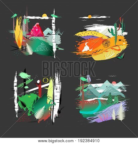 Four hand drawn illustrations of nature landscapes on black background. Concept for poster print advertising touristic brochure t-shirt.